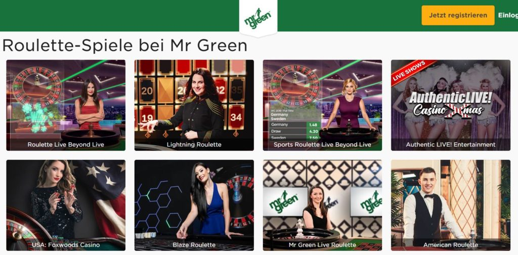 Mr. Green Casino Roulette Spiele